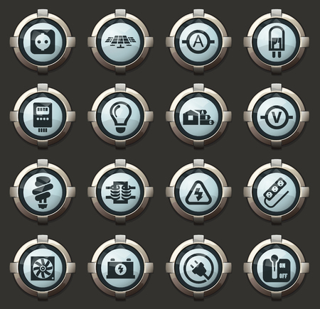 Electricity vector stylish round buttons for mobile applications and web