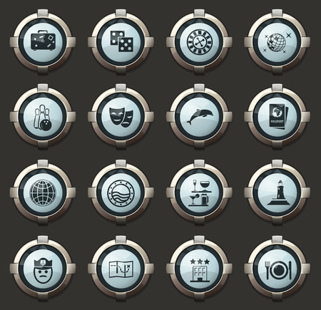 Cruise vector stylish round buttons for mobile applications and web