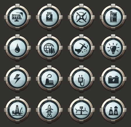 Alternative energy vector stylish round buttons for mobile applications and web