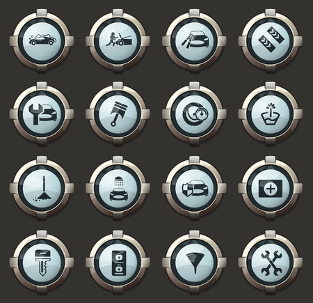 Car shop vector stylish round buttons for mobile applications and web Stock Illustratie