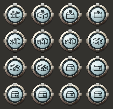 Simple set of box in the vector stylish round buttons for mobile applications and web Illustration