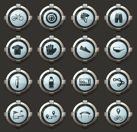 Bicycle symbols in the vector stylish round buttons for mobile applications and web