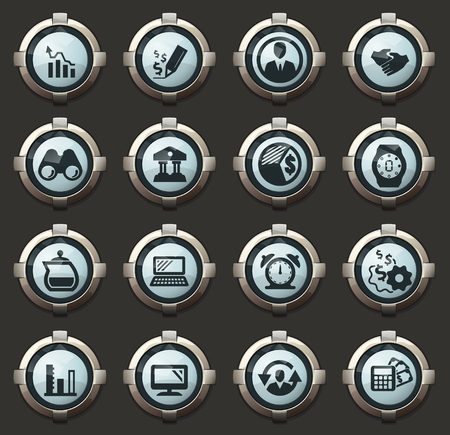 Business management and human resources vector stylish round buttons for mobile applications and web