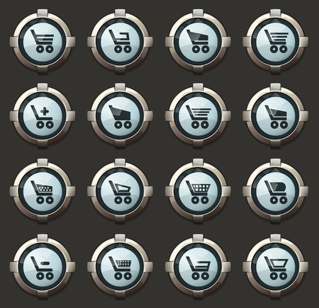 Basket vector stylish round buttons for mobile applications and web