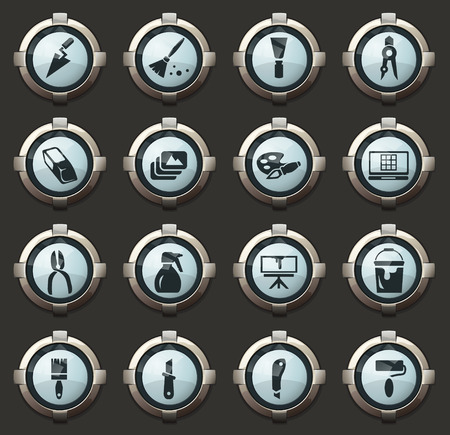 Art tools vector stylish round buttons for mobile applications and web