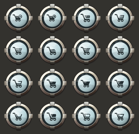 Shopping Bascket vector stylish round buttons for mobile applications and web