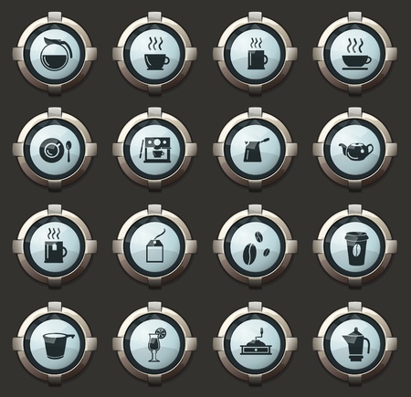 Cafe vector stylish round buttons for mobile applications and web