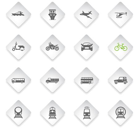transport flat rhombus web icons for user interface design Illustration
