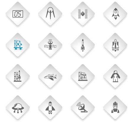 spacecrafts flat rhombus web icons for user interface design