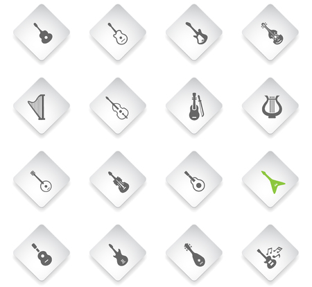 string instruments flat rhombus web icons for user interface design