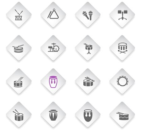 rhythm instruments flat rhombus web icons for user interface design Illustration