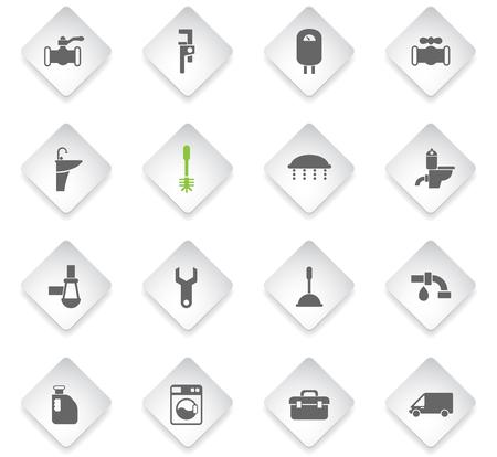 plumbing service flat rhombus web icons for user interface design