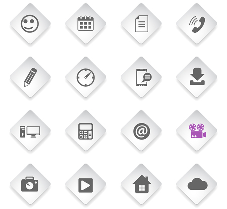 social media flat rhombus web icons for user interface design
