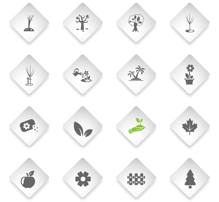 plants measuring tools flat rhombus web icons for user interface design Ilustração