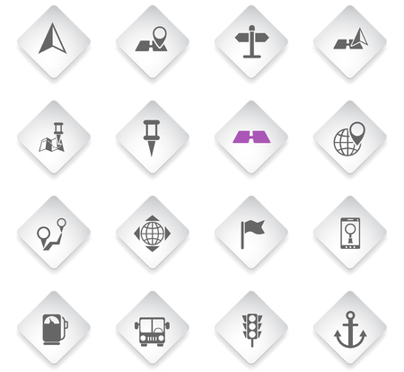 navigation flat rhombus web icons for user interface design Illustration