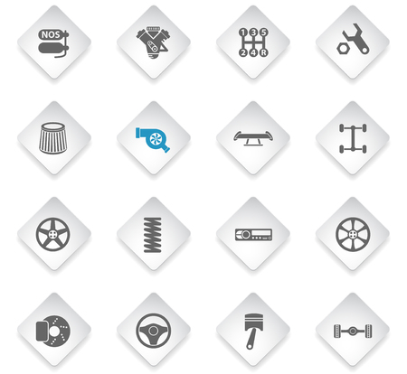 auto tuning flat rhombus web icons for user interface design