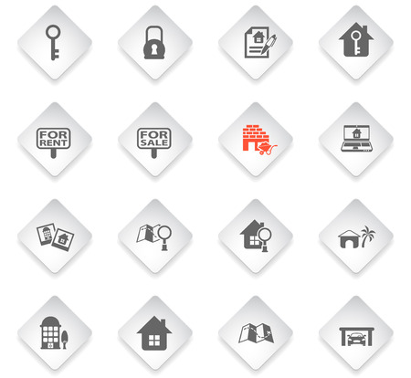 real estate flat rhombus web icons for user interface design