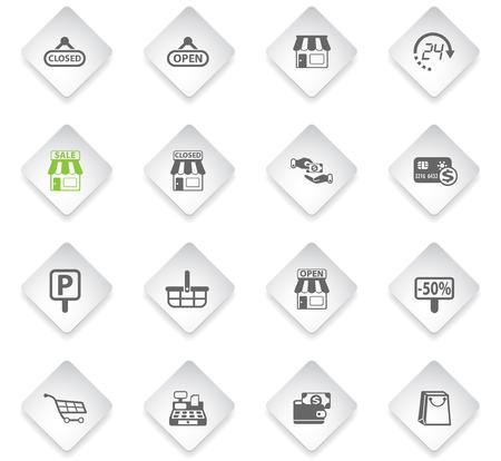 shop flat rhombus web icons for user interface design Stock Illustratie