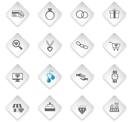 jewerly store flat rhombus web icons for user interface design