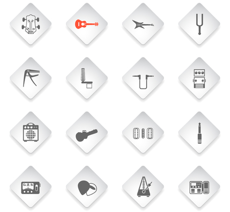 guitar and accessories flat rhombus web icons for user interface design