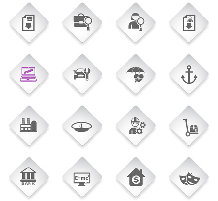 job search flat rhombus web icons for user interface design
