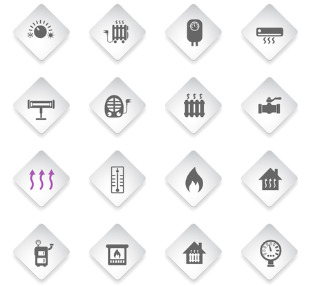 heating flat rhombus web icons for user interface design