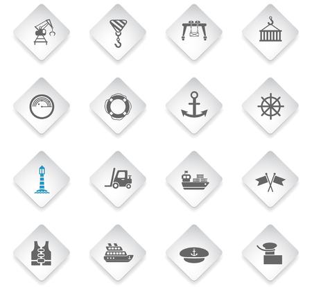 harbor flat rhombus web icons for user interface design