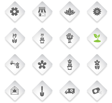 flowers flat rhombus web icons for user interface design