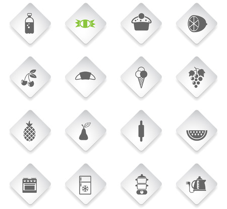 food and kitchen flat rhombus web icons for user interface design