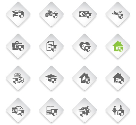 insurance flat rhombus web icons for user interface design