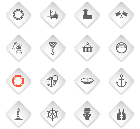harbor flat rhombus web icons for user interface design
