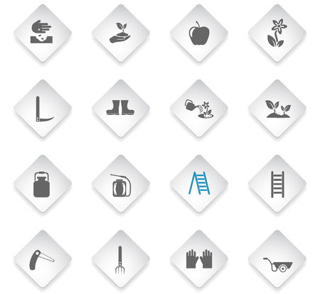 gardening flat rhombus web icons for user interface design