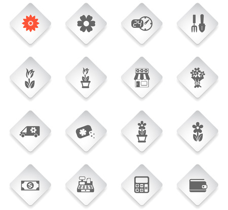 flower shop flat rhombus web icons for user interface design