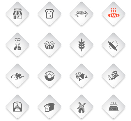 bakery flat rhombus web icons for user interface design
