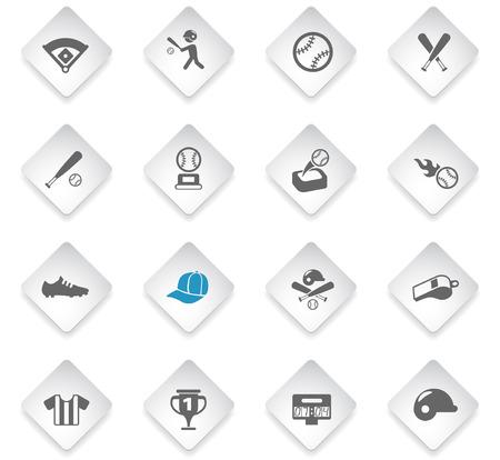 baseball flat rhombus web icons for user interface design