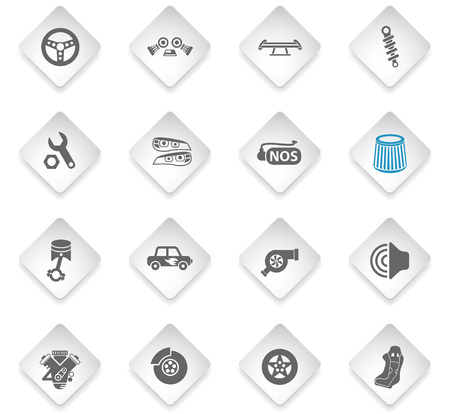 auto tuning flat rhombus web icons for user interface design Stock Vector - 126701764
