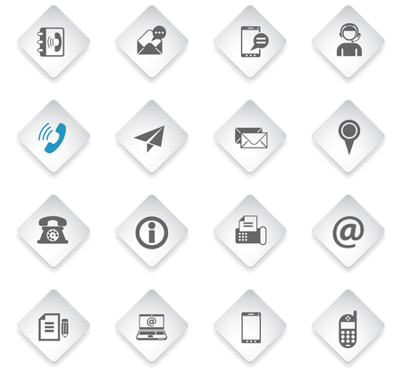 contact us flat rhombus web icons for user interface design Vectores