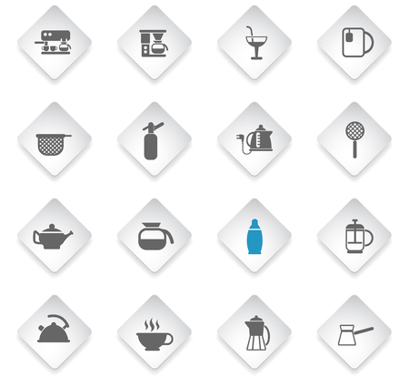 utensils for beverages flat rhombus web icons for user interface design
