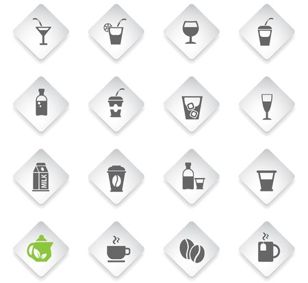 drinks flat rhombus web icons for user interface design