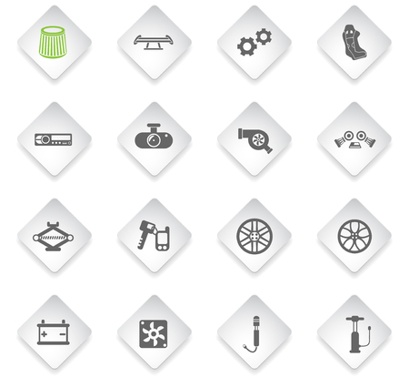 car shop flat rhombus web icons for user interface design