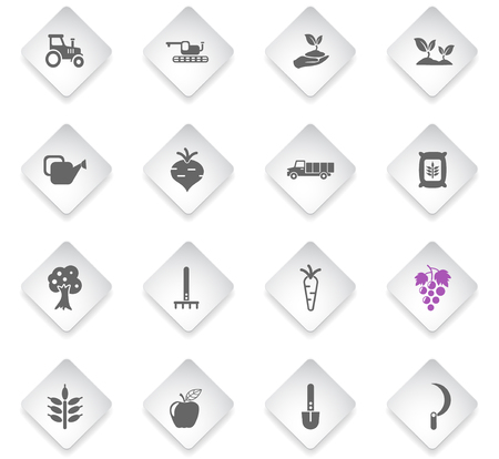 agricultural flat rhombus web icons for user interface design Illustration