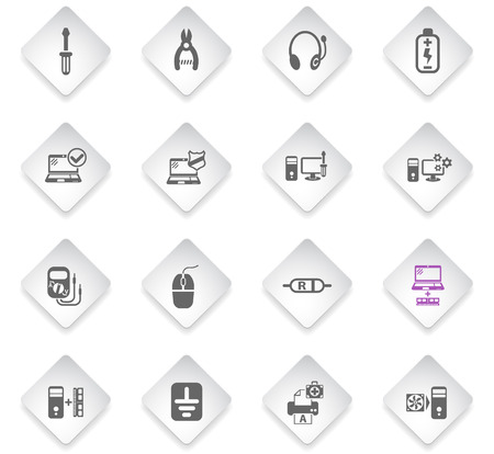 computer repair flat rhombus web icons for user interface design