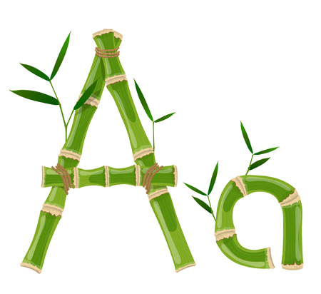 Bamboo letter A with young shoots with leaves, eco vector font