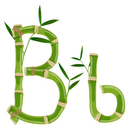 Bamboo letter B with young shoots with leaves, eco vector font Ilustrace