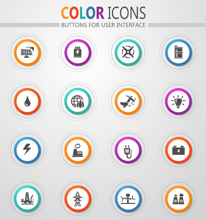 Alternative energy icons set for web sites and user interface Stock Vector - 126333350