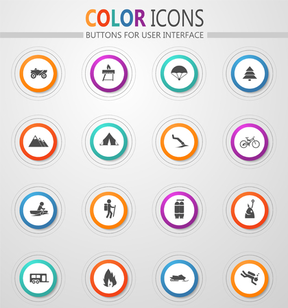 Active recreation web vector icons for user interface