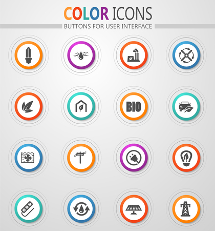 Alternative energy icons set for web sites and user interface Stock Vector - 126333366