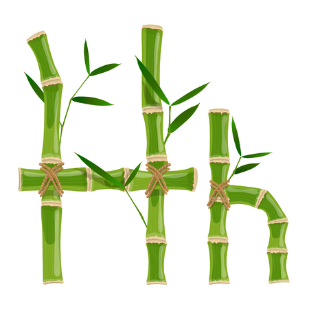 Bamboo letter H with young shoots with leaves, eco vector font Illusztráció