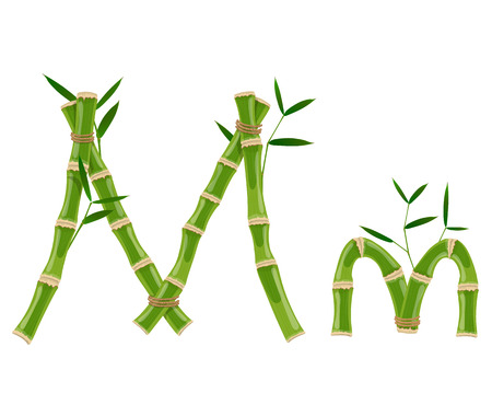 Bamboo letter M with young shoots with leaves, eco vector font Illusztráció