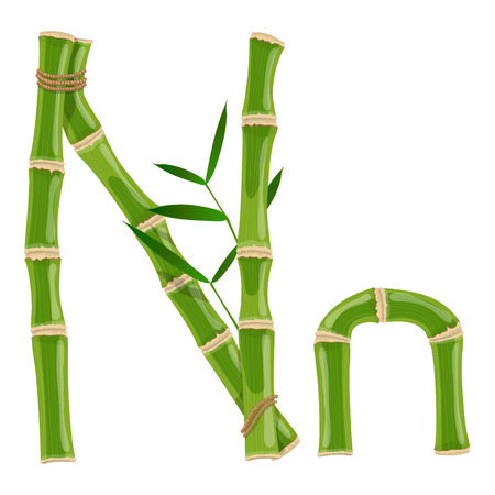 Bamboo letter N with young shoots with leaves, eco vector font
